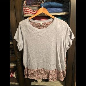 J.Crew tshirt with silk floral panel in back 🌷